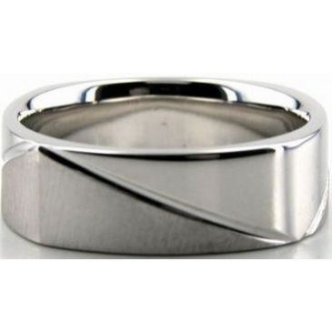 Platinum 950 7mm Diamond Cut Wedding Band 688