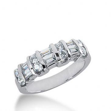950 Platinum Diamond Anniversary Wedding Ring 8 Round Brilliant, 6 Straight Baguette Diamonds 1.00ctw 293WR1339PLT