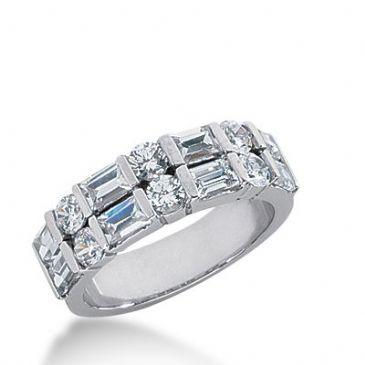950 Platinum Diamond Anniversary Wedding Ring 6 Round Brilliant, 8 Straight Baguette Diamonds 1.96ctw 294WR1340PLT