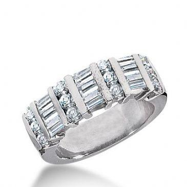 18k Gold Diamond Anniversary Wedding Ring 12 Round Brilliant, 9 Straight Baguette Diamonds 1.26ctw 295WR134118K