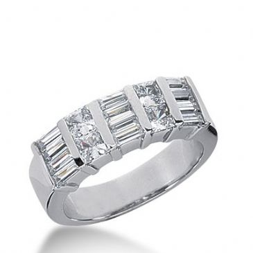 18k Gold Diamond Anniversary Wedding Ring 4 Princess Cut, 12 Straight Baguette Diamonds 1.28ctw 296WR134218K