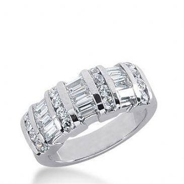 18k Gold Diamond Anniversary Wedding Ring 16 Round Brilliant, 9 Straight Baguette Diamonds 1.46ctw 297WR134318K