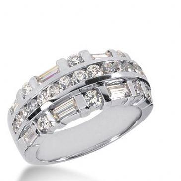 18k Gold Diamond Anniversary Wedding Ring 21 Round Brilliant, 8 Straight Baguette Diamonds 1.95ctw 298WR134418K