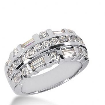 950 Platinum Diamond Anniversary Wedding Ring 21 Round Brilliant, 8 Straight Baguette Diamonds 1.95ctw 298WR1344PLT