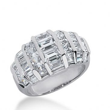 18k Gold Diamond Anniversary Wedding Ring 18 Princess Cut, 20 Straight Baguette Diamonds 2.84ctw 299WR134518K