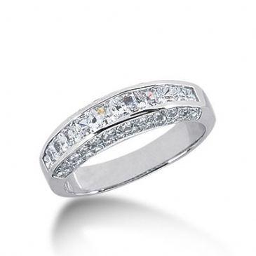 18k Gold Diamond Anniversary Wedding Ring 12 Princess Cut, 42 Round Brilliant Diamonds 1.98ctw 300WR134618K