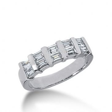 18k Gold Diamond Anniversary Wedding Ring 10 Straight Baguette Diamonds 0.80ctw 301WR134818K