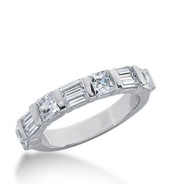 18k Gold Diamond Anniversary Wedding Ring 4 Princess Cut, 6 Straight Baguette Diamonds 1.78ctw 302WR134918K