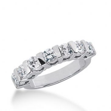 18k Gold Diamond Anniversary Wedding Ring 7 Round Brilliant Diamonds 1.05ctw 304WR135118K