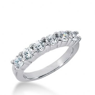 950 Platinum Diamond Anniversary Wedding Ring 6 Round Brilliant Diamonds 0.90ctw 305WR1352PLT
