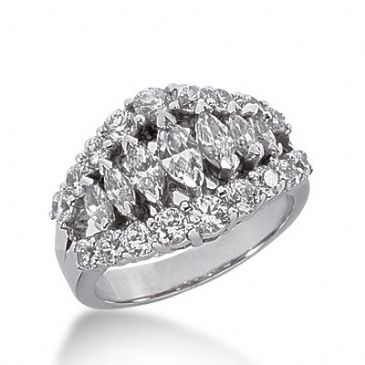 950 Platinum Diamond Anniversary Wedding Ring 7 Marquise Shaped, 18 Round Brilliant Diamonds Total 2.35ctw 308WR1356PLT
