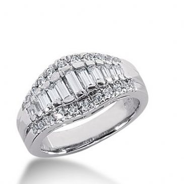 18k Gold Diamond Anniversary Wedding Ring 22 Round Brilliant, 13 Straight Baguette Diamonds 1.03ctw 309WR135718K