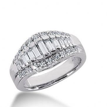 950 Platinum Diamond Anniversary Wedding Ring 22 Round Brilliant, 13 Straight Baguette Diamonds 1.03ctw 309WR1357PLT