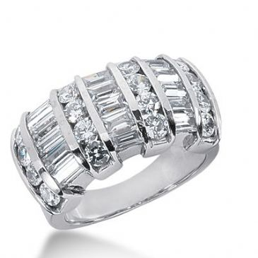 950 Platinum Diamond Anniversary Wedding Ring 16 Round Brilliant, 15 Straight Baguette Diamonds 2.78ctw 311WR1359PLT