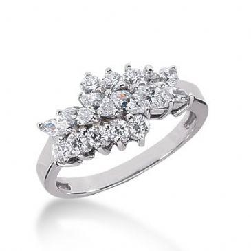 950 Platinum Diamond Anniversary Wedding Ring 10 Round Brilliant, 6 Marquise Shaped Diamonds 1.19ctw 312WR1367PLT