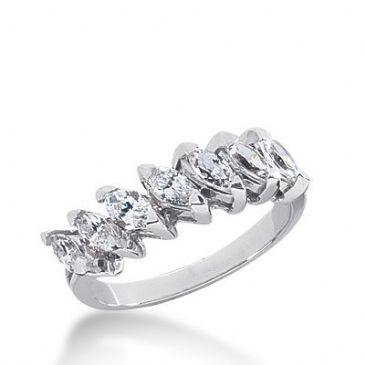 950 Platinum Diamond Anniverary Wedding Ring 7 Marquise Shaped Diamonds 1.05ctw 313WR1368PLT