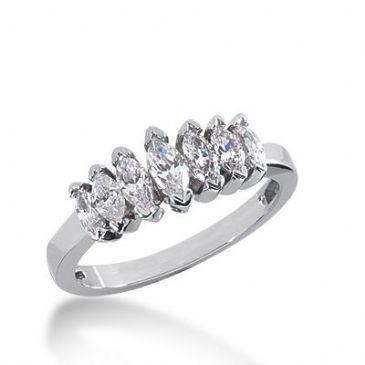 18k Gold Diamond Anniversary Wedding Ring 7 Marquise Shaped Diamonds 1.20ctw 314WR136918K