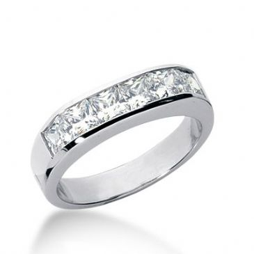 18k Gold Diamond Anniversary Wedding Ring 6 Princess Cut Diamonds 1.80ctw 315WR137618K