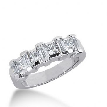 18k Gold Diamond Anniversary Wedding Ring 4 Princess Cut, 5 Straight Baguette Diamonds 1.25ctw 316WR137818K