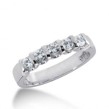 18k Gold Diamond Anniversary Wedding Ring 5 Round Brilliant Diamonds 0.75ctw 317WR137918K