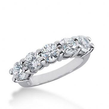 950 Platinum Diamond Anniversary Wedding Ring 5 Round Brilliant Diamonds 2.25ctw 319WR1381PLT