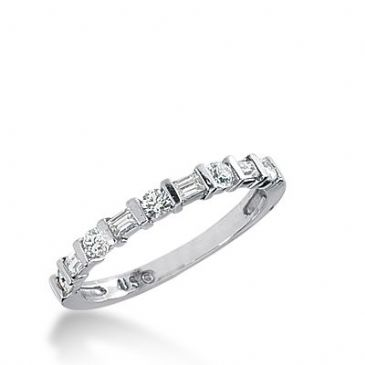 18k Gold Diamond Anniversary Wedding Ring 5 Round Brilliant, 4 Straight Baguette Diamonds 0.41ctw 320WR141318K