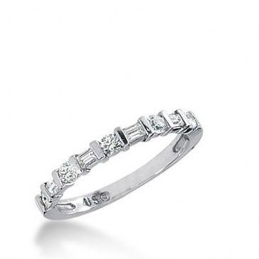 18k Gold Diamond Anniversary Wedding Ring 5 Round Brilliant, 4 Straight Baguette Diamonds 0.41ctw 320WR141318K