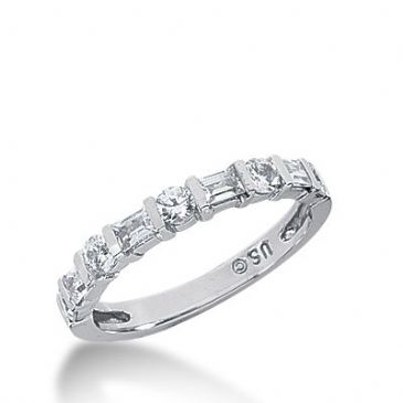 950 Platinum Diamond Anniversary Wedding Ring 5 Round Brilliant, 4 Straight Baguette Diamonds 0.72ctw 321WR1414PLT