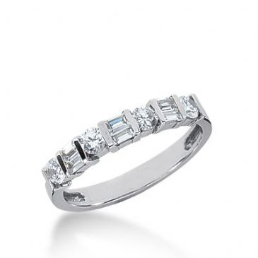 950 Platinum Diamond Anniversary Wedding Ring 4 Round Brilliant, 6 Straight Baguette Diamonds 0.64ctw 322WR1415PLT