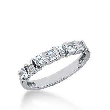 950 Platinum Diamond Anniversary Wedding Ring 4 Round Brilliant, 6 Straight Baguette Diamonds 0.64ctw 322WR1415PLT