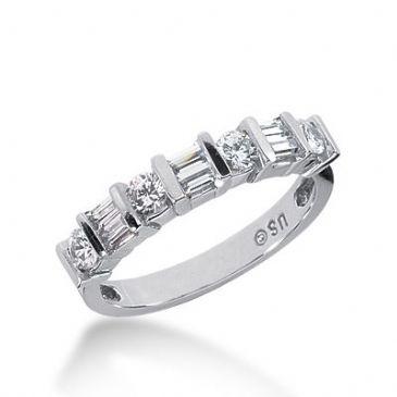 18k Gold Diamond Anniversary Wedding Ring 4 Round Brilliant, 6 Straight Baguette Diamonds 0.78ctw 323WR141618K