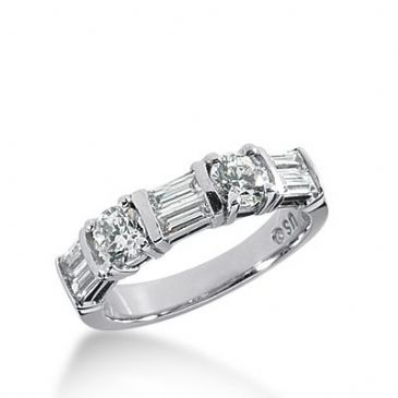 950 Platinum Diamond Anniversary Wedding Ring 2 Round Brilliant, 6 Straight Baguette Diamonds 1.26ctw 324WR1417PLT
