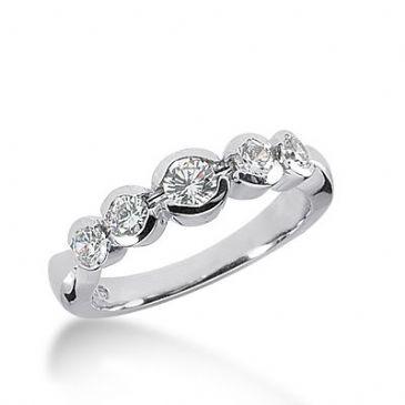 18k Gold Diamond Anniversary Wedding Ring 5 Round Brilliant Diamonds 0.64ctw 327WR143418K