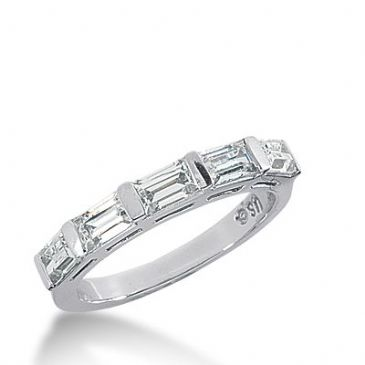 18k Gold Diamond Anniversary Wedding Ring 5 Straight Baguette Diamonds 1.30ctw 328WR144318K