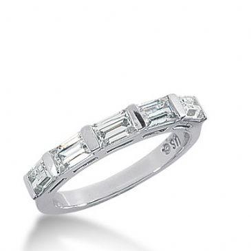 950 Platinum Diamond Anniversary Wedding Ring 5 Straight Baguette Diamonds 1.30ctw 328WR1443PLT