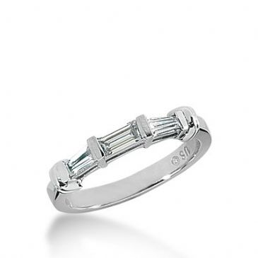 950 Platinum Diamond Anniversary Wedding Ring 1 Straight Baguette, 2 Tapered Baguette Diamonds 0.51ctw 329WR1444PLT