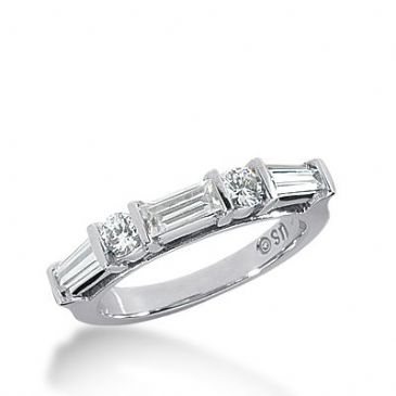 950 Platinum Diamond Anniversary Wedding Ring 2 Round Brilliant, 1 Straight Baguette, 2 Tapered Baguette Diamonds 1.04ctw 330WR1445PLT