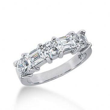 950 Platinum Diamond Anniversary Rings Wedding Ring 3 Round Brilliant, 2 Straight Baguette Diamonds 1.56ctw 331WR1447PLT