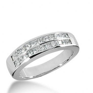 18k Gold Diamond Anniversary Wedding Ring 24 Princess Cut Diamonds 0.96ctw 332WR144818K