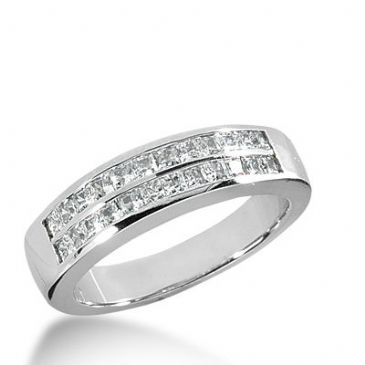 950 Platinum Diamond Anniversary Wedding Ring 24 Princess Cut Diamonds 0.96ctw 332WR1448PLT