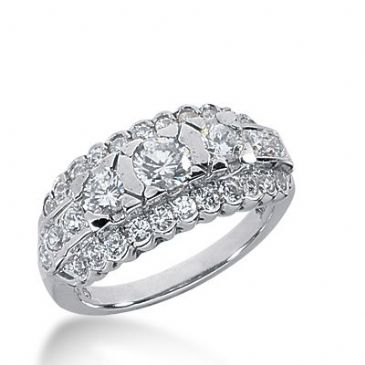 18k Gold Diamond Anniversary Wedding Ring 31 Round Brilliant Diamonds 1.50ctw 333WR147118K