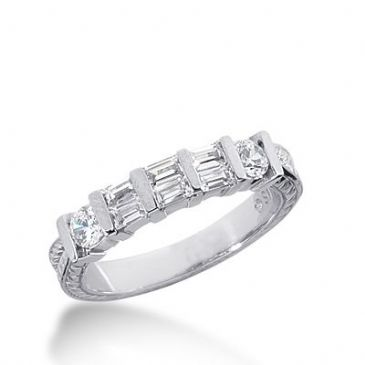 18k Gold Diamond Anniversary Wedding Ring 2 Round Brilliant, 6 Straight Baguette Diamonds 0.66ctw 335WR147318K