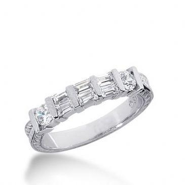 950 Platinum Diamond Anniversary Wedding Ring 2 Round Brilliant, 6 Straight Baguette Diamonds 0.66ctw 335WR1473PLT