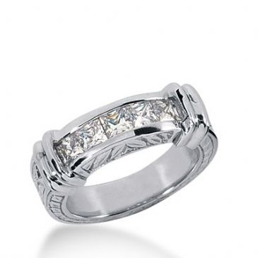 950 Platinum Diamond Anniversary Wedding Ring 5 Princess Cut Diamonds 0.85ctw 336WR1477PLT