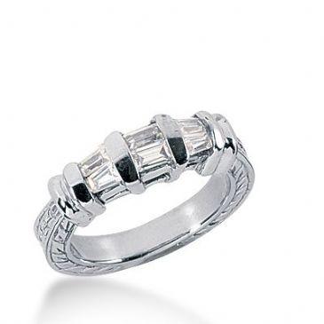 18k Gold Diamond Anniversary Wedding Ring 2 Straight Baguette, 4 Tapered Baguette Diamonds 0.48ctw 337WR147818K