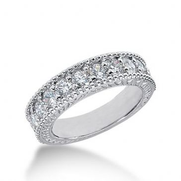 950 Platinum Diamond Anniversary Wedding Ring 11 Round Brilliant Diamonds 1.10ctw 595WR2348PLT