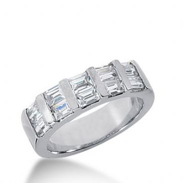 950 Platinum Diamond Anniversary Wedding Ring 10 Straight Baguette Diamonds 1.20ctw 341WR1485PLT
