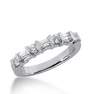 18k Gold Diamond Anniversary Wedding Ring 4 Round Brilliant, 3 Straight Baguette Diamonds 0.62ctw 342WR149218K
