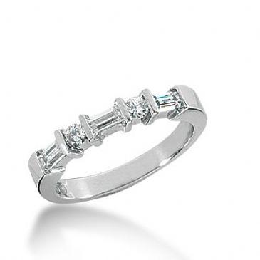 950 Platinum Diamond Anniversary Wedding Ring 3 Round Brilliant, 4 Straight Baguette Diamonds 0.53ctw 343WR1494PLT