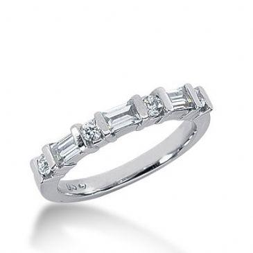 18k Gold Diamond Anniversary Wedding Ring 4 Round Brilliant, 3 Straight Baguette Diamonds 0.60ctw 344WR149518K